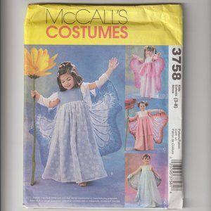 McCALL's Costumes PATTERN 3758  Kids 3-8 Fairy